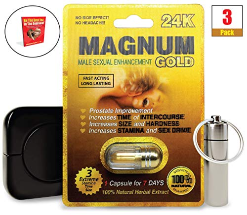 Magnum Gold 24k (3 Caps) Male Performance, Energy, Enhancement, and Endurance Bundle with Accessories (6 Items)