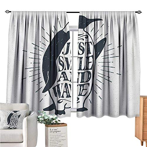 - Linhomedecor Quote Blackout Curtains for Bedroom Penguin Waving His Flipper and Just Smile and Wave Text in The Belly Dark Blue Grey and White Curtain Valance W55 x L63
