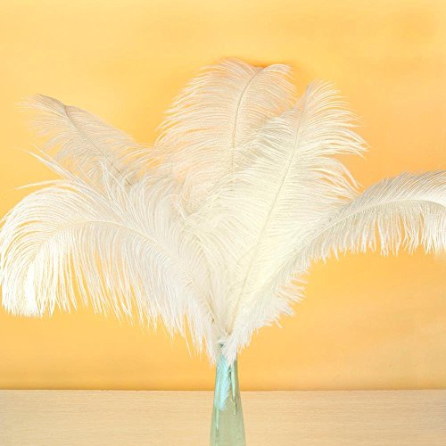 AWAYTR Natural 20-22 inch(50-55cm) Ostrich Feathers Plume for Wedding Centerpieces Home Decoration White 50 Pcs by AWAYTR (Image #1)