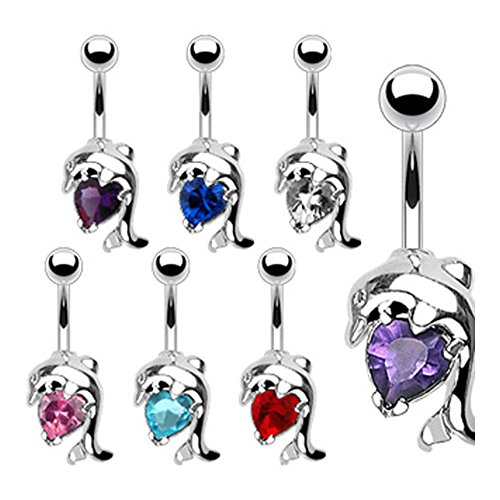 West Coast Jewelry {Aqua} Navel Belly Button Ring with Dolphin Heart CZ - 14GA 3/8