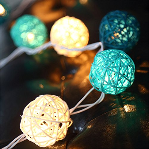 COTW Handmade Rattan Balls Decorative String Lights Blue White Light Battery Power Safe Easy Install Led Ball Light For Badroom Patio Wedding Garden And Parties -Blue and (Decorative String Balls)