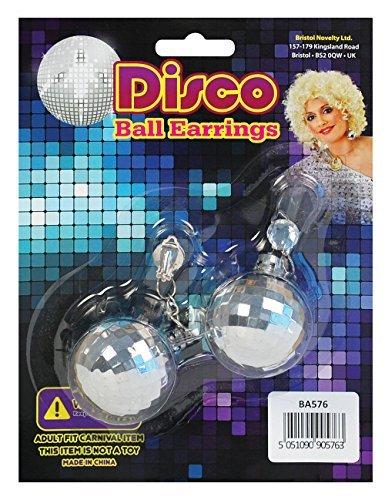 [Disco Ball Earrings Jewellery Accessory for 70s Glitz Fancy Dress Jewellery by Partypackage Ltd] (70s Jewellery Disco)