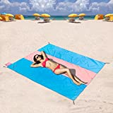 ZOMAKE Compact Beach Blanket Sand Proof and Water Resistant - Beach Mat Sand Free, Pocket Blanket for Outdoor Travel Camping Festival Sports