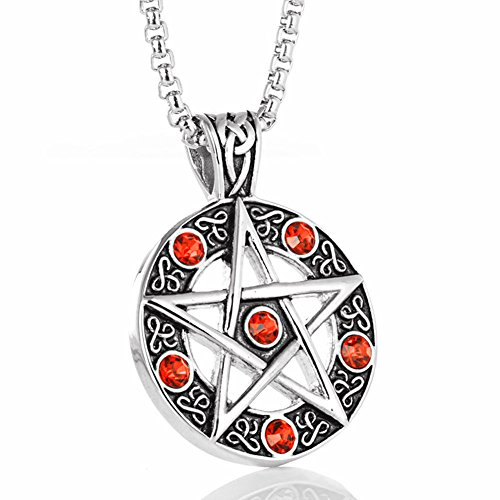 Blowin Stainless Steel Powerful Pentacle Necklaces Pentagram, Wicca Traditional Seal of Solomon Pendant, 23.5 Inch Curb Chain (Red Style) (Stainless Pendant Collection Steel)