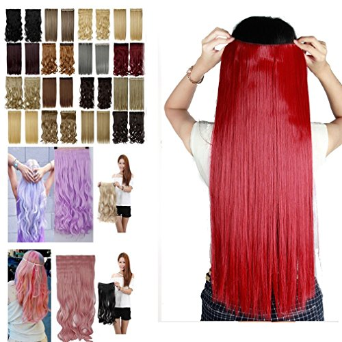 Clip in Hair Extensions Dark Red Long Straight Full Head One Piece 5 Clips 23 Inches 23'' for Women