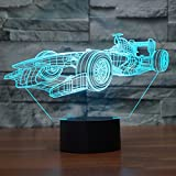 Racing Car 3D Illusion Lamp Led Night Light, USB Powered 7 Colours Flashing Touch Switch Bedroom Decoration Lighting for Kids Christmas Gif