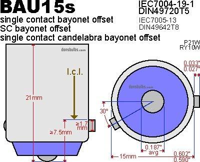 2x Amber 581 PY21W BAU15s Bayonet Bulb LED Sidelight Side Indicator Turn Signal Tail Stop Light DRL