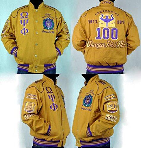 メンズゴールドオメガPSI PHI zipUp刺繍ジャケットサイズXXLarge B077QXJTXW