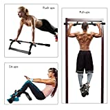 HiHiLL Door Gym, Doorway Pull Up Bar 8 Grips Exercise Bar Portable Tough Steel Construction Chin Up Bar 250lb Train Upper Body and Core Work Out at Home(IRG-01)