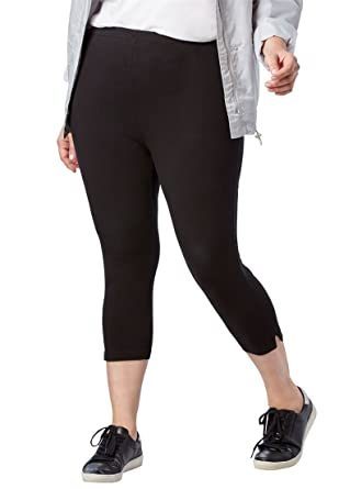 2d3f73f8bff Woman Within Plus Size Stretch Cotton Capri Legging at Amazon ...