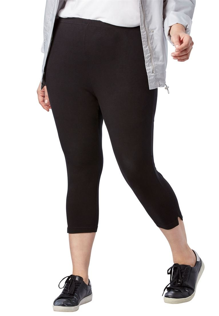 Women's Plus Size Petite Stretch Cotton Capri Legging Black,1X