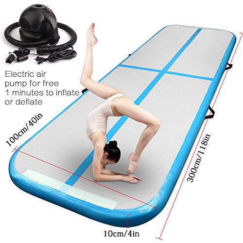 nflatable Gymnastics Tumbling Mat Air Track Floor Mats with Electric Air Pump for Home Use/Training/Cheerleading/Beach/Park and Water 9.8foot(300cm)x3.2foot(100cm)x0.32foot(10cm) (Blue)