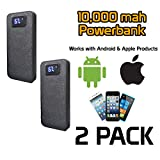 Portable Charger Powerbank, 10,000 Mah,With Digital Display, Perfect for Android & Apple Products, 5 Year Warranty. (2 Pack)
