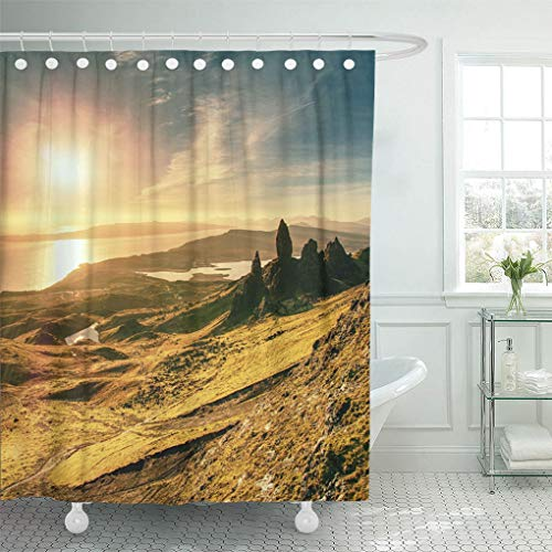 Emvency Waterproof Fabric Shower Curtain Hooks The Old Man of Storr is One Most Photographed Wonders in World Isle Skye Highlands Scotland United Extra Long 72
