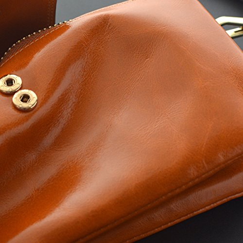 Bveyzi Women's Leather Smartphone Wristlet Clutch Wallet with Shoulder Strap (Tan) by Bveyzi (Image #7)