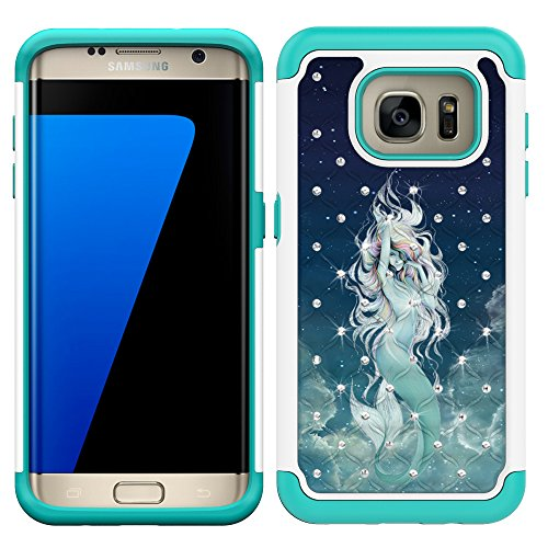 S7 Edge Case, MagicSky [Shock Absorption] Studded Rhinestone Bling Hybrid Dual Layer Armor Defender Protective Case Cover for Samsung Galaxy S7 Edge (Mermaid) (Samsung S7 Edge Best Themes)