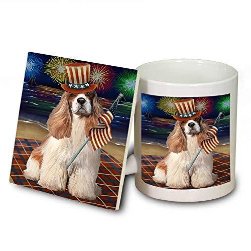 4th of July Independence Day Firework Cocker Spaniel Dog Mug and Coaster Set MUC52415 (Coasters Dishwasher Independence Safe)