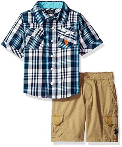 (U.S. Polo Assn. Boys' Woven Sport Shirt and Twill Cargo Short, Plaid 2T)