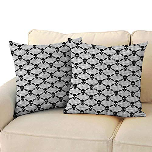 Marilec Customized Pillowcase Gothic Halloween Horror Theme Spooky Black Skulls Checkered Pattern with Skeleton Bones with Hidden Zipper W 14