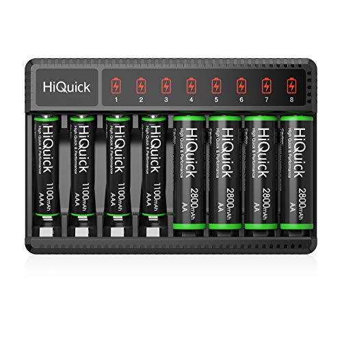 HiQuick AA AAA Rechargeable Batteries and Battery Charger with Micro USB Input, 4 x 2800mAh AA + 4 x 1100mAh AAA NI-MH Rechargeable Batteries & AA AAA Battery Charger, Battery and Charger Set
