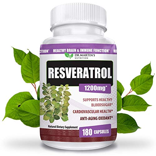 51YyRO9TtjL - Extra Strength 100% Pure Resveratrol 1200mg - 180 Capsules - 3 Months Supply | Antioxidant Supplement | Natural Trans-Resveratrol Pills | for Anti-Aging, Heart Health, Immune System & Brain Function