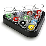 Set of 10 Pool Table Billiards Shot Glasses with Triangle Ball Rack Serving Tray