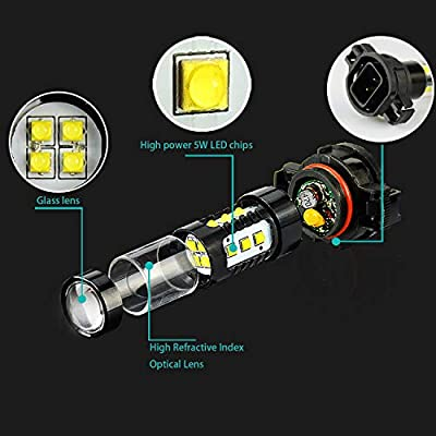 JDM ASTAR Bright White Max 80W High Power 5202 5201 LED Fog Light Bulbs: Automotive