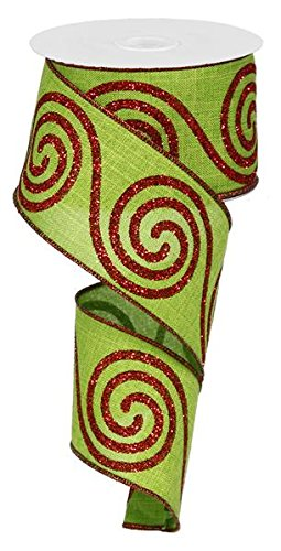 Swirl Christmas Ribbon: Red and Lime Green 2.5 X 10 Yards : RG0140970 Expressions