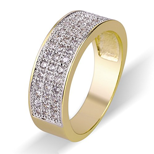 TOPGRILLZ 18K Gold 7mm ETERNITY Wedding Engagement Band MICROPAVE Lab Diamond Iced Out Ring