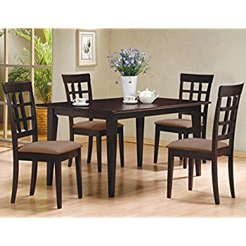 Amazon.com - 5pc Casual Dining Table & Chairs Set in Espresso ...