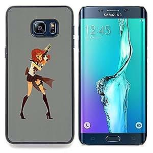 - Superhero Girl Costume Mini Skirt Art Cartoon - - Snap-On Rugged Hard Cover Case Funny HouseFOR Samsung Galaxy S6 Edge Plus