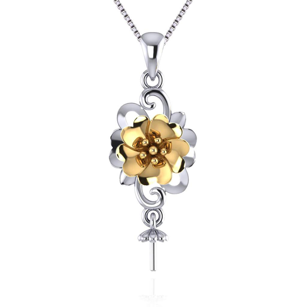 LGSY Jewelry Flower Pendant Accessories for Pearls Sterling Silver 925 Pearl Pendant SP290G