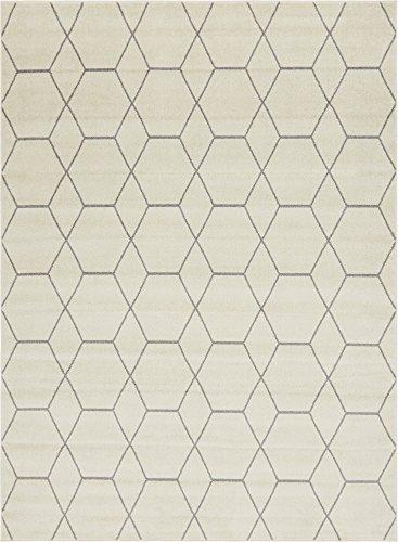 Unique Loom Trellis Frieze Collection Lattice Moroccan Geometric Modern Ivory Area Rug (9' 0 x 12' 0)