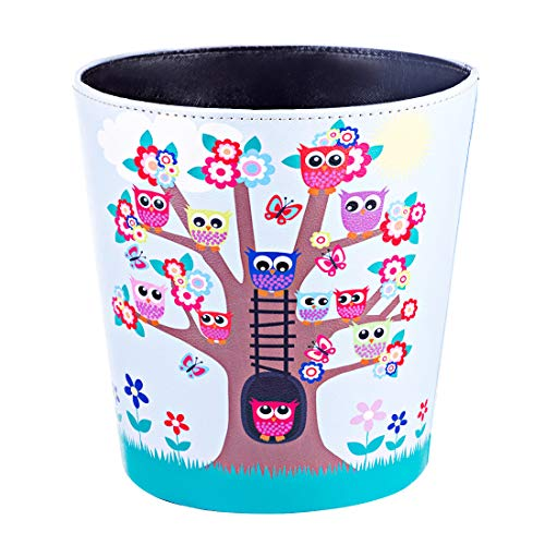 XSHION 2.64 Gallon /10 L Wastebasket,Owl Pattern Round Trash Can Waterproof Leather Garbage Can Trash Bin Waste Bin Without Lid for Living Room Bedroom - Type 1
