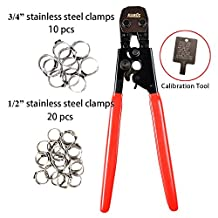 "IWISS® PEX CINCH Crimping Tool Crimper for Stainless Steel Clamps from 3/8""to 1"" with 1/2"" 20PCS and 3/4"" 10PCS SS PEX Clamps"