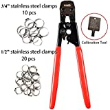 """IWISS PEX CINCH Crimping Tool Crimper for Stainless Steel Clamps from 3/8""""to 1"""" with 1/2"""" 20PCS and 3/4"""" 10PCS SS PEX Clamps"""