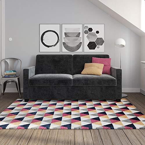 Signature Sleep Casey Velvet Sofa with Memory Foam Mattress, Gray, ()