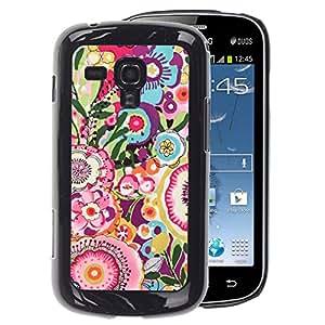 A-type Arte & diseño plástico duro Fundas Cover Cubre Hard Case Cover para Samsung Galaxy S Duos S7562 (Floral Pink Pattern Girly)