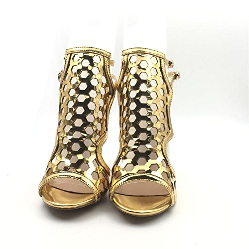 Heel Shoes Party Gold High Evening Stiletto Sexy Ladies Sandals Peep Size Prom Bridal Ladies Toe Gold Women's 1xvRq8C