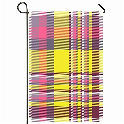 (Ahawoso Seasonal Garden Flag 12x18 Inches Cute Yellow Bright Madras Plaid Pattern Purple Fuchsia Tartan Pink British Check Checker Digital Home Decorative Outdoor Double Sided House Yard Sign)