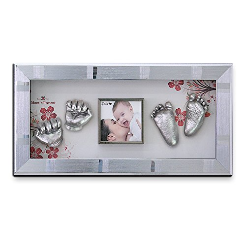 Momspresent Baby Hands and Foot 3D Casting Print DIY Kit with Silver Frame1(casting silver) by Moms Present
