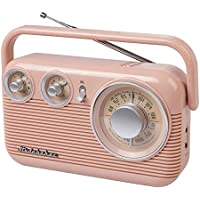 Studebaker SB2003 Retro Portable AM/FM Radio AC or Battery Operated (Rose Gold)