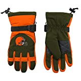 NFL Youth Boys Nylon Glove-Brown Suede-1 Size, Cleveland Browns