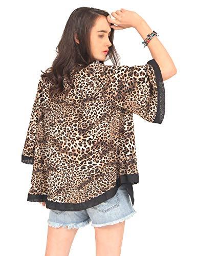 Accessory Leopard - MissShorthair Womens Loose Chiffon Kimono Blouse Leopard Cardigan Short Tops (7Leopard, S/M)