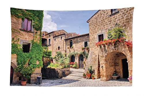 """Lunarable Tuscany Tapestry, Italian Streets in Countryside with Traditional Brick Houses Old Tuscan Prints, Fabric Wall Hanging Decor for Bedroom Living Room Dorm, 45"""" X 30"""", Multicolor"""