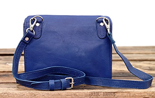 pochette cuir main LA Bleu femme vintage Sac à MARIUS MINAUDIÈRE électrique PAUL style Y0XTY