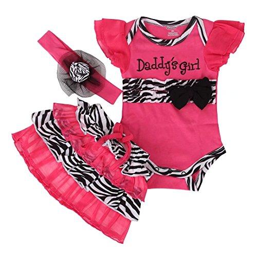 Baby Girls Zebra Princess Rose Romper Dress with Headband 3pcs Outfit Set