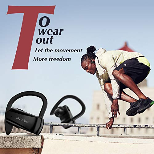 Running Headphones,Syllable Wireless Bluetooth Earbuds with Mic V 5.0 Hi-Fi Stereo Richer Heavy Bass Noise Cancelling Headsets Sweatproof Secure Fit in Ear 6 Hours Battery by Syllable (Image #4)