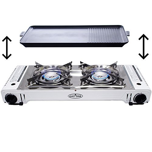 GAS ONE GS-2000 Dual Fuel Portable Propane & Butane Double Stove with NON STICK GRILL Camping and Backpacking Gas Twin Stove Burner with Carrying Case (Stainless Steel & White)
