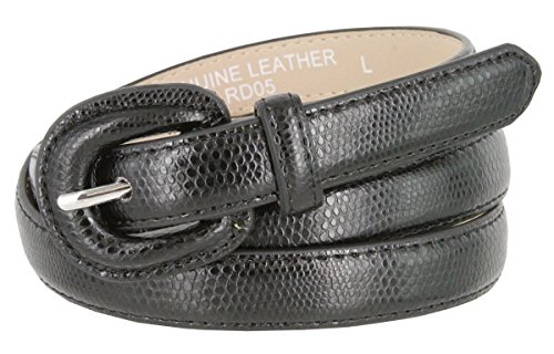 Women's Skinny Snakeskin Embossed Genuine Leather Dress Belts 3/4